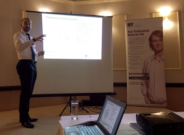 Lead Project Manager Michael Blake speaking to local engineers about the Caithness-Moray transmission project